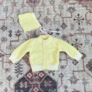 Vintage baby yellow cardigan and bonnet set